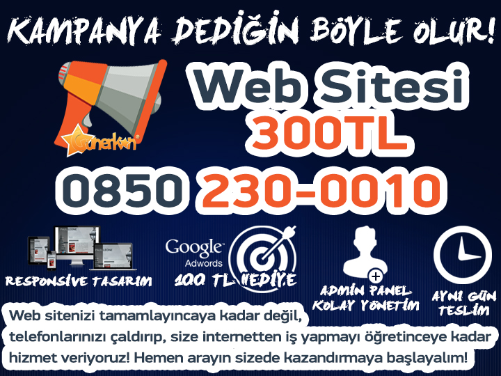 Şok Kampanya! 299 TL'ye Web Sitesi!